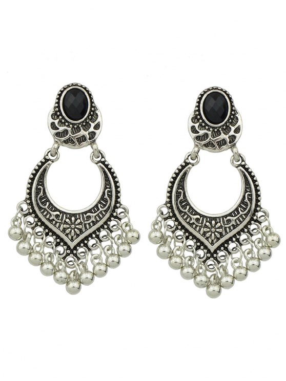 women's Bead Tassel Drop Earrings - SILVER