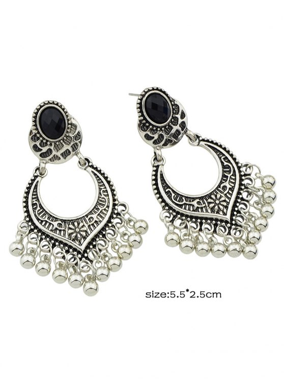 Bead Tassel Drop Earrings - SILVER  Mobile