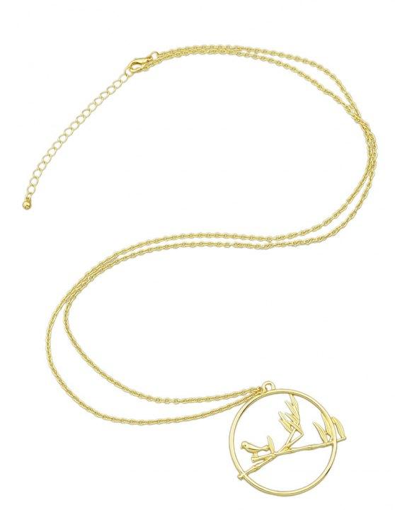 Circle Bird Pendant Necklace - GOLDEN  Mobile