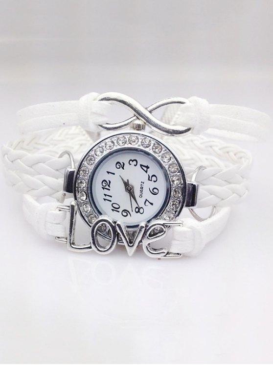 Love Braided Quartz Bracelet Watch - WHITE  Mobile
