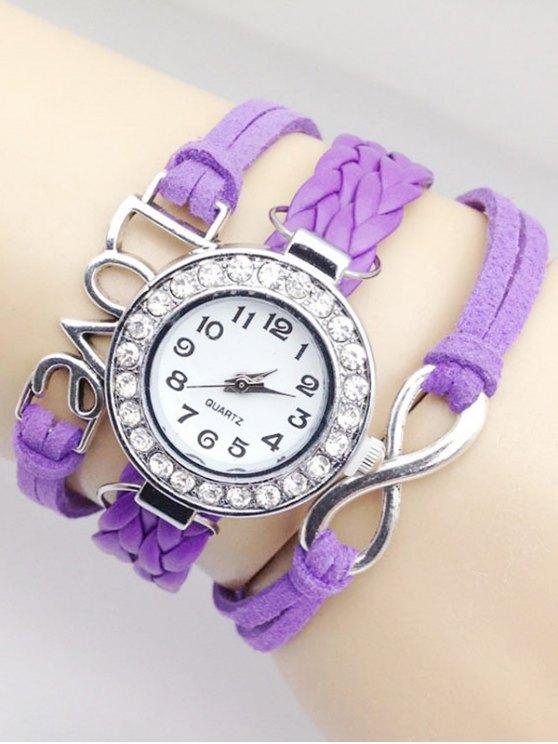 Love Braided Quartz Bracelet Watch - PURPLE  Mobile