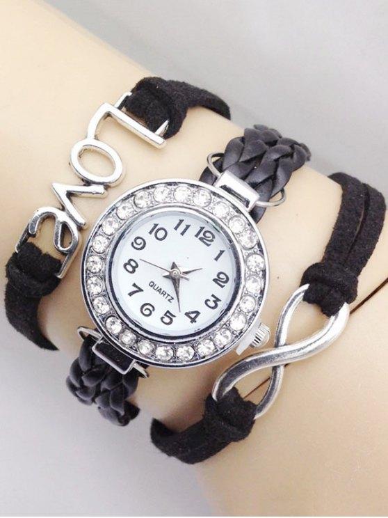 Love Braided Quartz Bracelet Watch - BLACK  Mobile