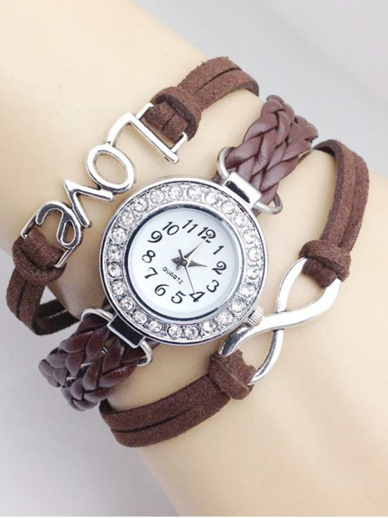 Love Braided Quartz Bracelet Watch - BROWN  Mobile