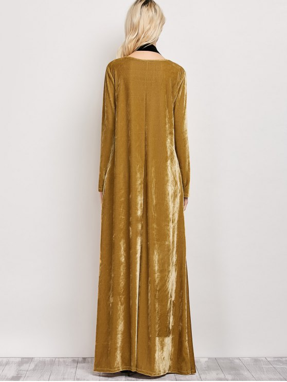 Velvet Long Sleeve Maxi Dress - EARTHY L Mobile