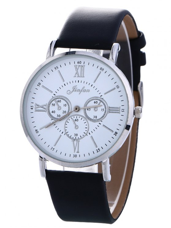 Faux Leather Roman numeral Analog Watch - BLACK  Mobile