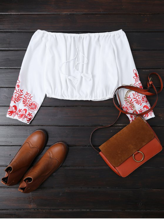 Embroidered Off the Shoulder Cropped Blouse - WHITE S Mobile