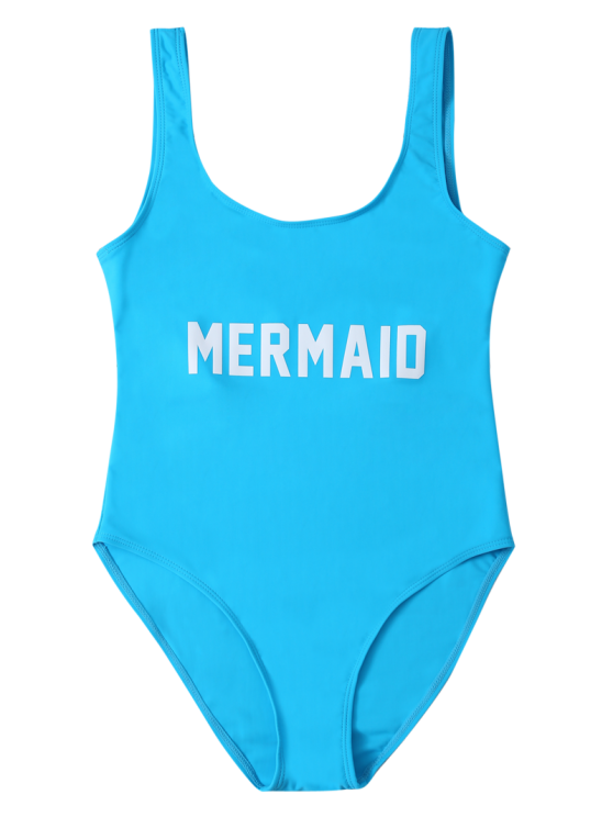 High Leg U Neck Swimsuit - LAKE BLUE XL Mobile