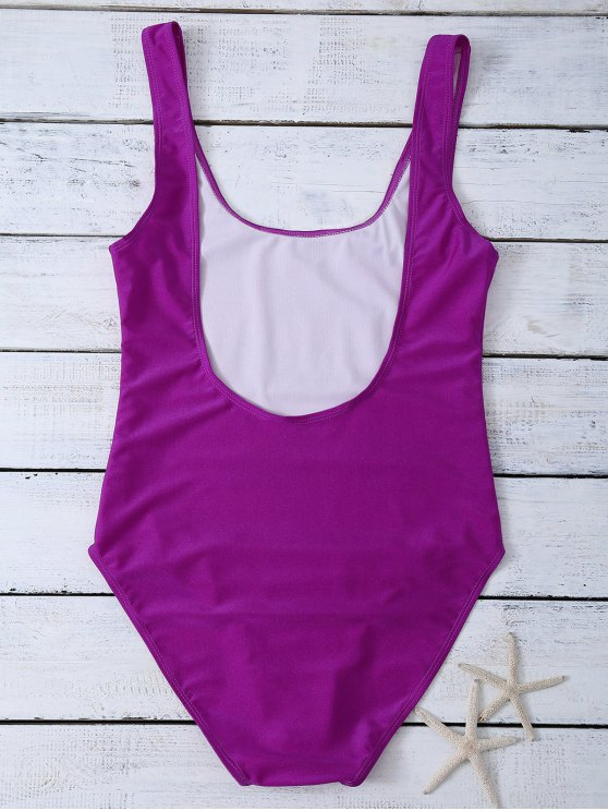 High Leg U Neck Swimsuit - PURPLISH RED XL Mobile