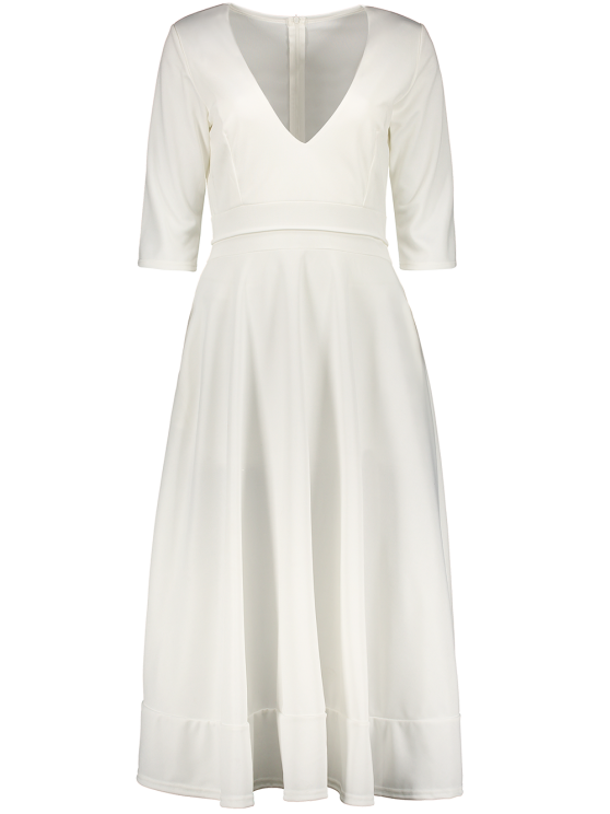 Low Cut Tea Length A Line Dress - WHITE L Mobile