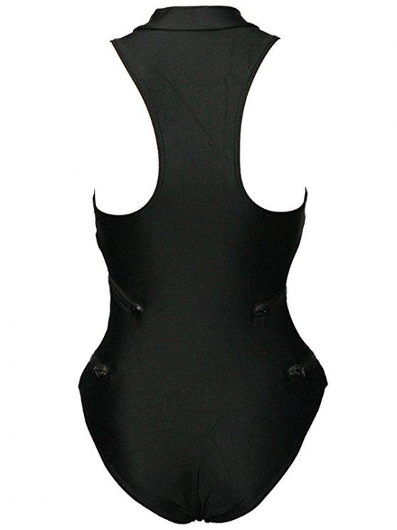 Full Zip Sports One-Piece Swimwear - BLACK M Mobile