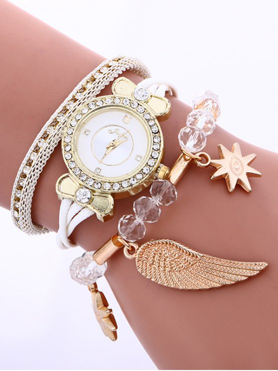Layered Rhinestone Beaded Wing Bracelet Watch - WHITE  Mobile
