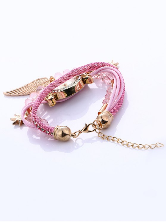 Layered Rhinestone Beaded Wing Bracelet Watch - PINK  Mobile