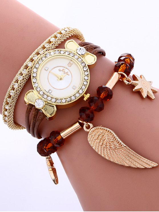Layered Rhinestone Beaded Wing Bracelet Watch - COFFEE  Mobile
