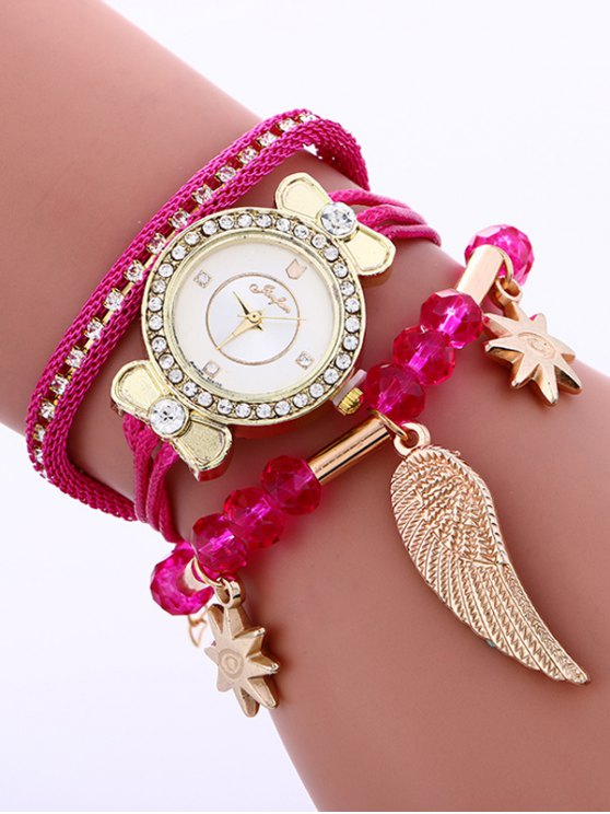 Layered Rhinestone Beaded Wing Bracelet Watch - TUTTI FRUTTI  Mobile