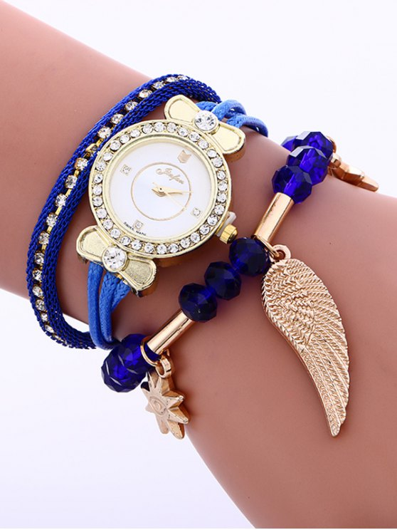 Layered Rhinestone Beaded Wing Bracelet Watch -   Mobile
