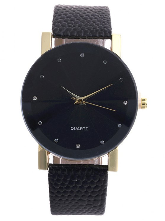 Snakeskin Pattern Faux Leather Analog Watch - BLACK  Mobile