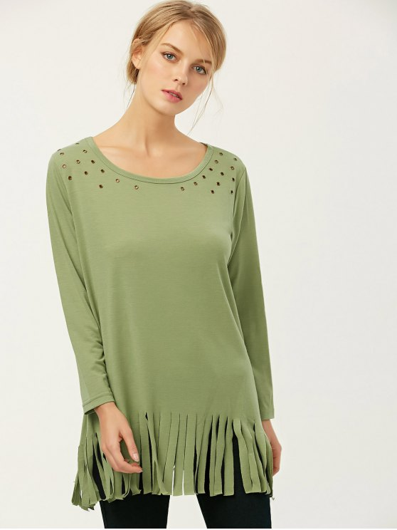 Fringe Rivet Hole Loose T-Shirt - PEA GREEN M Mobile