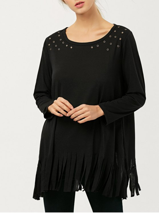 Fringe Rivet Hole Loose T-Shirt - BLACK L Mobile