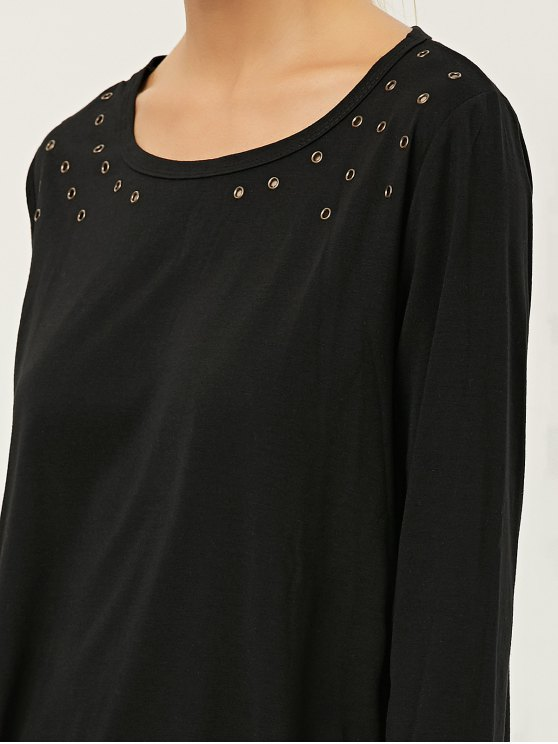 Fringe Rivet Hole Loose T-Shirt - BLACK XL Mobile