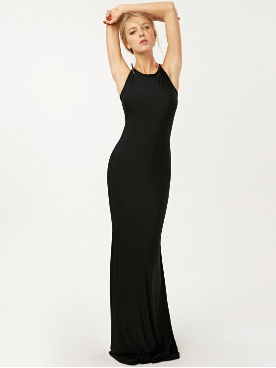 Criss Cross Ruched Trumpet Maxi Dress - BLACK S Mobile