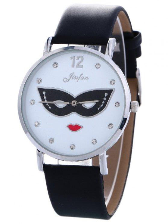 Rhinestone Mask Faux Leather Quartz Watch - BLACK  Mobile