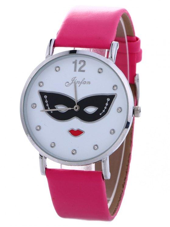 Rhinestone Mask Faux Leather Quartz Watch - TUTTI FRUTTI  Mobile