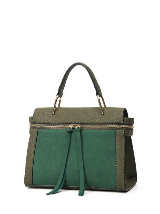 Zip Around Faux Leather Handbag - GREEN  Mobile