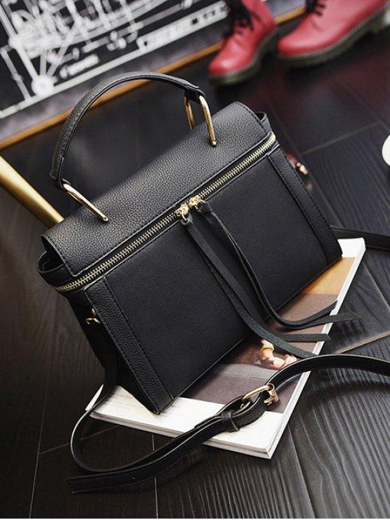 Zip Around Faux Leather Handbag - BLACK  Mobile