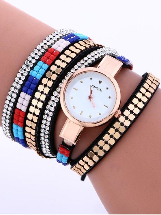 Layered Studded Bracelet Watch - BLACK  Mobile
