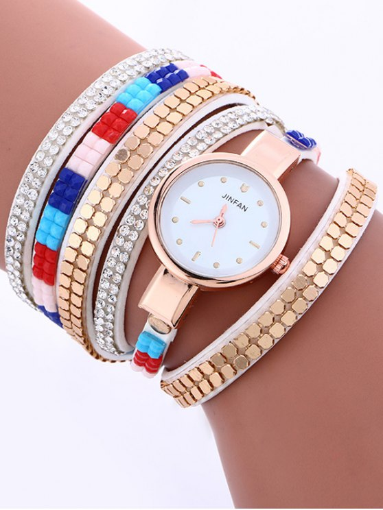 Layered Studded Bracelet Watch - WHITE  Mobile