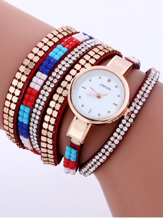 Layered Studded Bracelet Watch - RED  Mobile