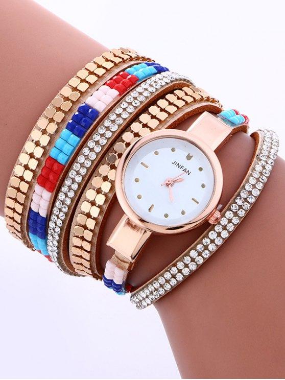 Layered Studded Bracelet Watch - LIGHT CAMEL  Mobile