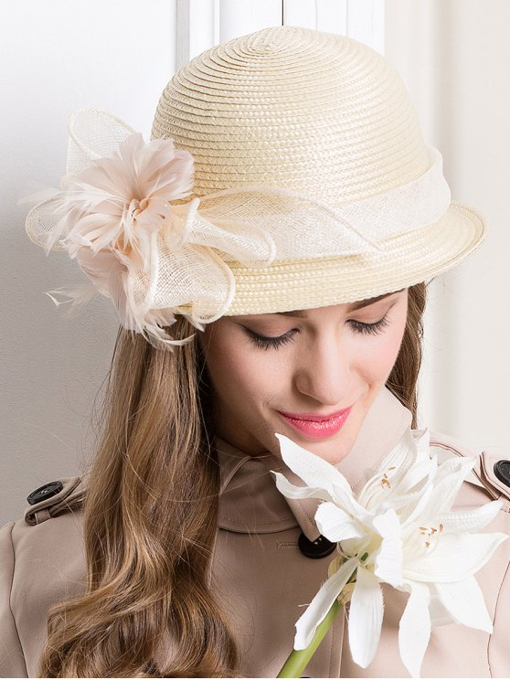 Feather Flax Band Straw Hat - BEIGE  Mobile