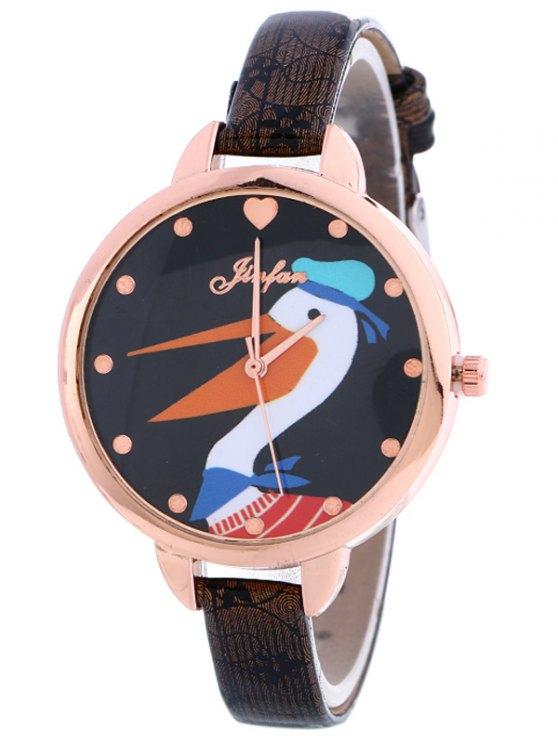 Faux Leather Swan Quartz Watch - BLACK  Mobile