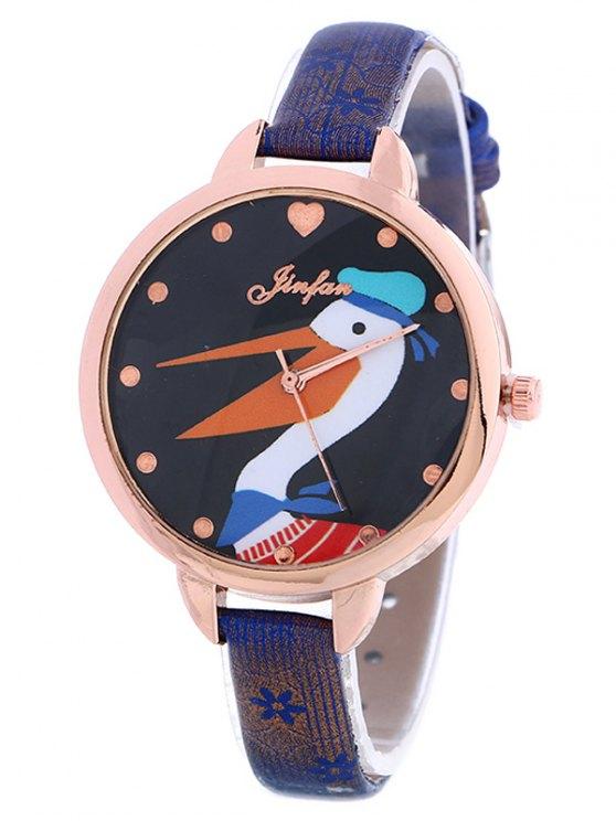 Faux Leather Swan Quartz Watch - BLUE  Mobile
