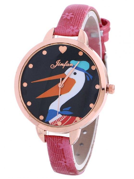 Faux Leather Swan Quartz Watch -   Mobile