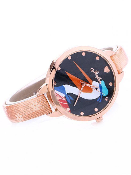 Faux Leather Swan Quartz Watch - PINK  Mobile