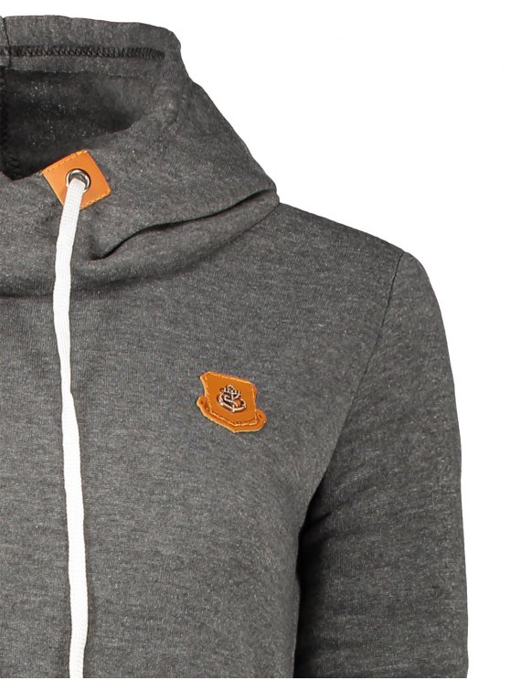 Badge Patch High Neck Drawstring Hoodie - DEEP GRAY M Mobile
