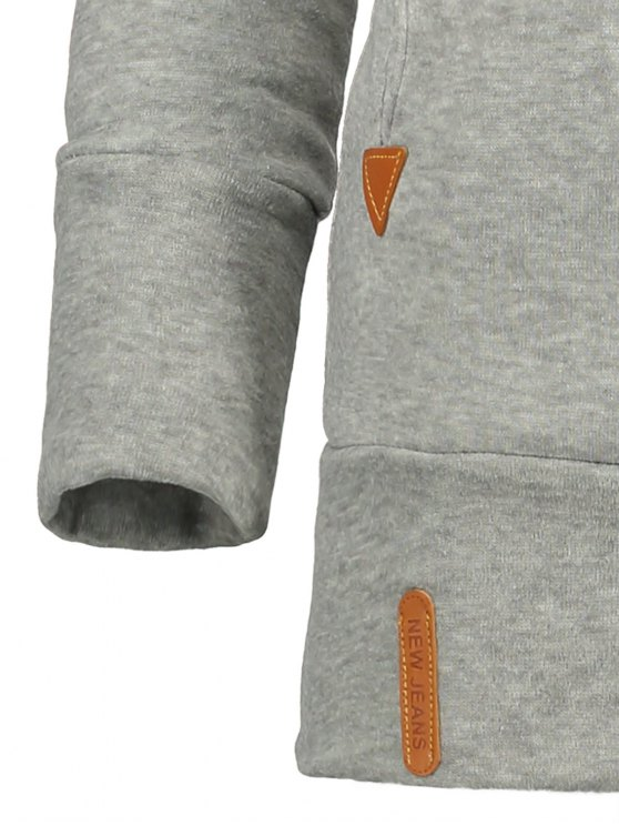 Badge Patch High Neck Drawstring Hoodie - LIGHT GRAY M Mobile