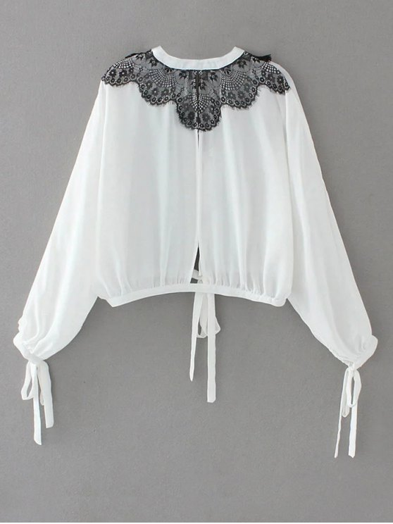 Contrast Lace Bow Tie Top - WHITE L Mobile