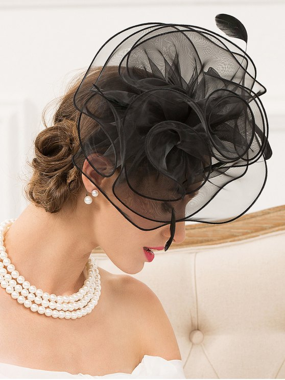 Organza Fascinator Hairband Hat - BLACK  Mobile