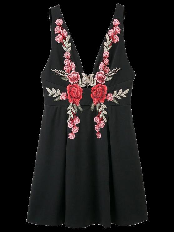 best Floral Applique Low Cut Mini Dress - BLACK L