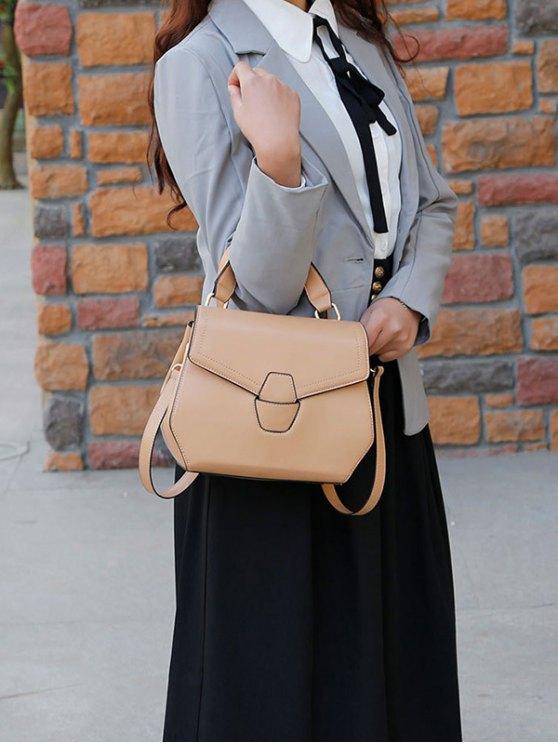 PU Leather Flapped Handbag - KHAKI  Mobile