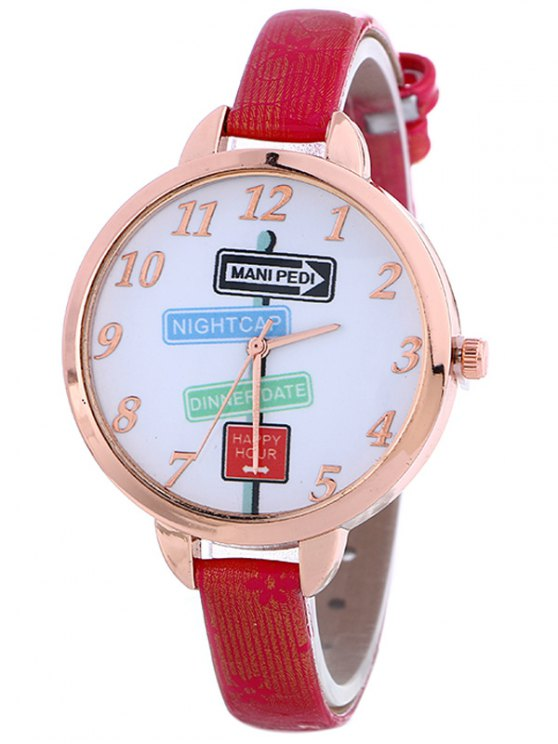 Faux Leather Guidepost Pattern Quartz Watch - RED  Mobile