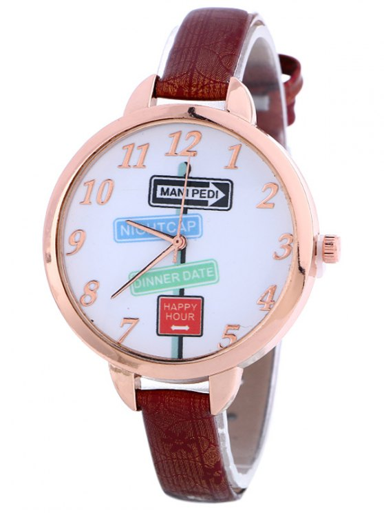 Faux Leather Guidepost Pattern Quartz Watch - WINE RED  Mobile