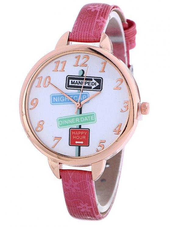 Faux Leather Guidepost Pattern Quartz Watch - TUTTI FRUTTI  Mobile