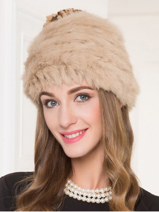 Faux Rabbit Fur Pom Hat - CAMEL  Mobile