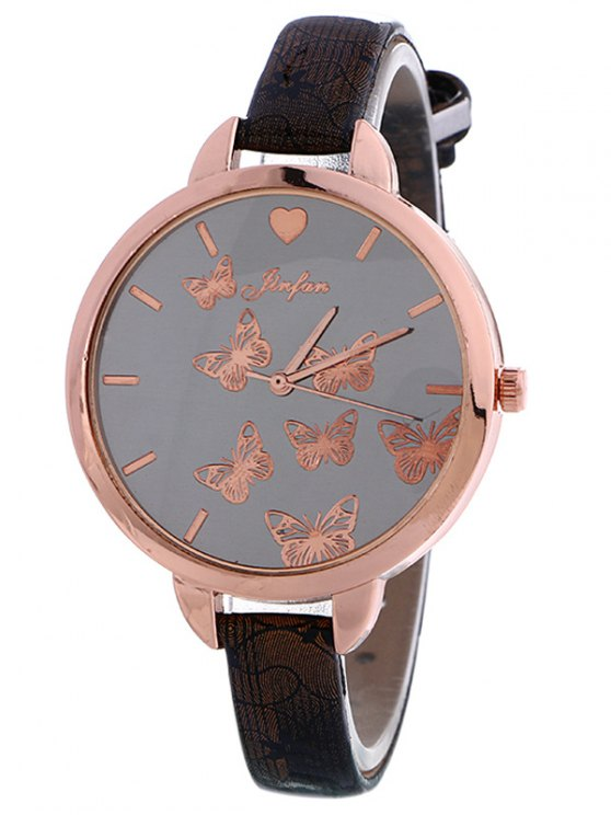Faux Leather Butterfly Quartz Watch - BLACK  Mobile