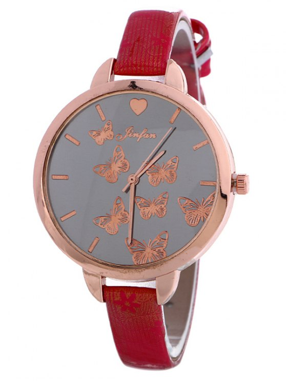 Faux Leather Butterfly Quartz Watch - RED  Mobile