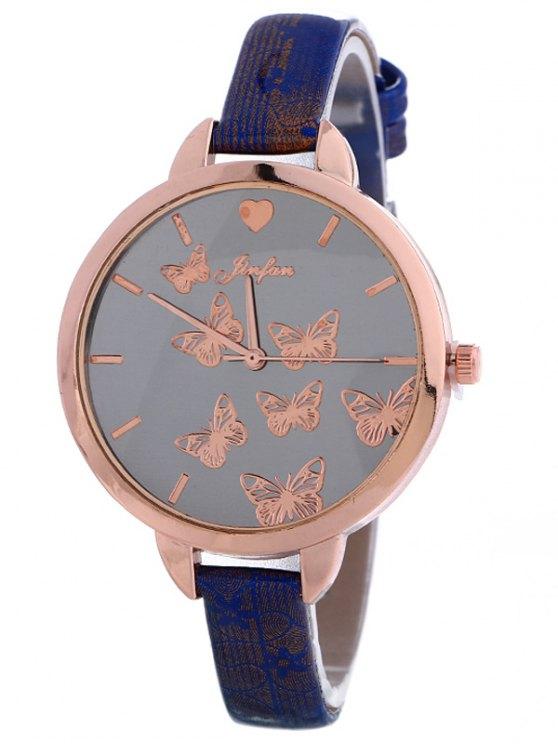 Faux Leather Butterfly Quartz Watch - BLUE  Mobile